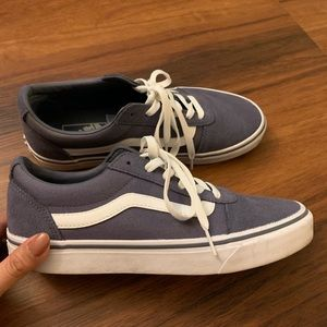 Vans Blue Gray Canvas Suede Low Ward Sneakers